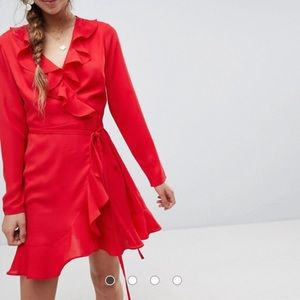 ASOS red ruffle wrap dress cutout back US8 UK12